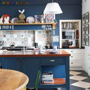 الابداع اختيار اللون الازرق للمطابخ